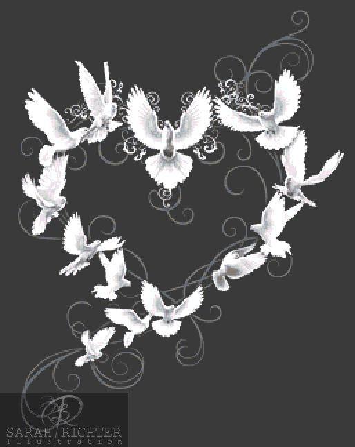 Dove Hearts Cross Stitch - Chart - Kit - Fantasy
