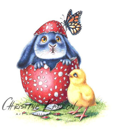 Easter Egg Benny Blue Cross Stitch  Chart - Kit - Rabbit