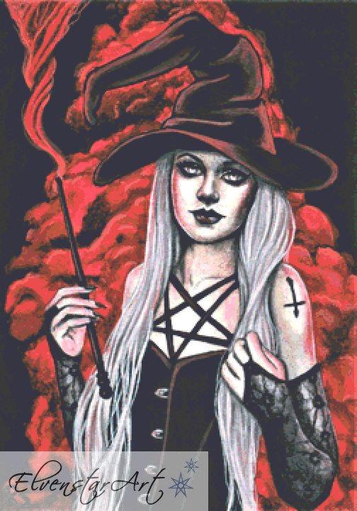 Black Magic Cross Stitch Chart -  Kit - Goth - Fantasy - Sinz