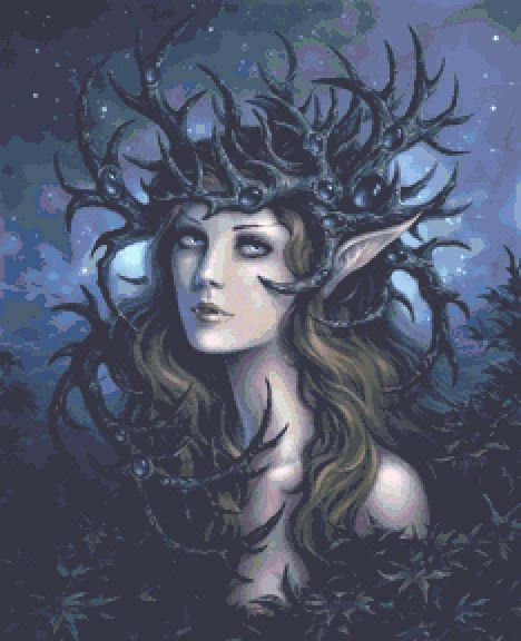 Horned Crown Cross Stitch  - Gothic - Fantasy - Magic