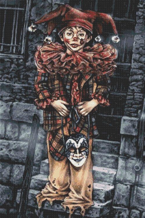 Large Boy Clown Cross Stitch Chart PDF