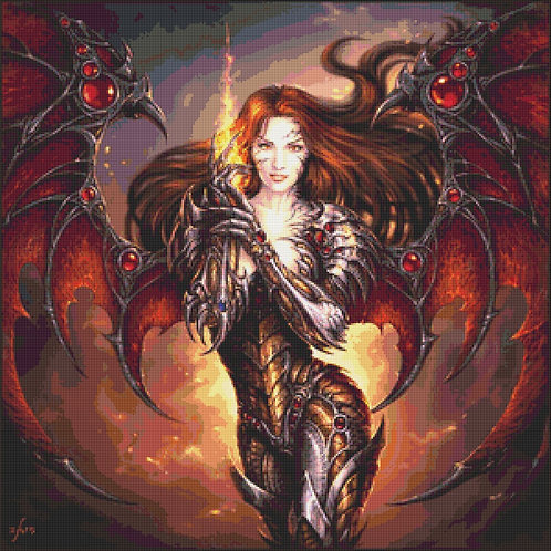 Dark Witchblade Cross Stitch - Gothic - Fantasy  - Magic - Demon - Candra
