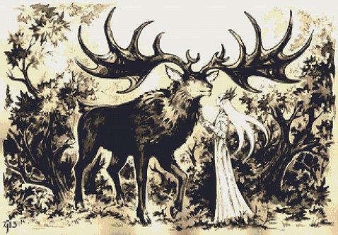 Thranduil and His Elk Cross Stitch - The Hobbit - Elf - LOTR - Candra
