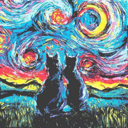 Black Cats Cross Stitch Chart PDF