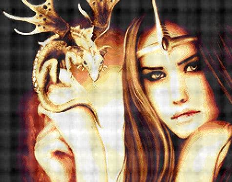 Dragon Girl Cross Stitch Chart - Kit - Fantasy - Goth