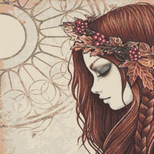 Autumn  Lady  Cross Stitch Chart - Kit  - Goth - Fantasy