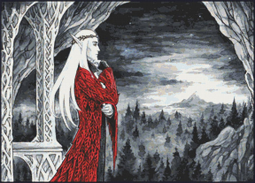 Balcony With A View Cross Stitch - Thranduil - The Hobbit - Elf - Candra