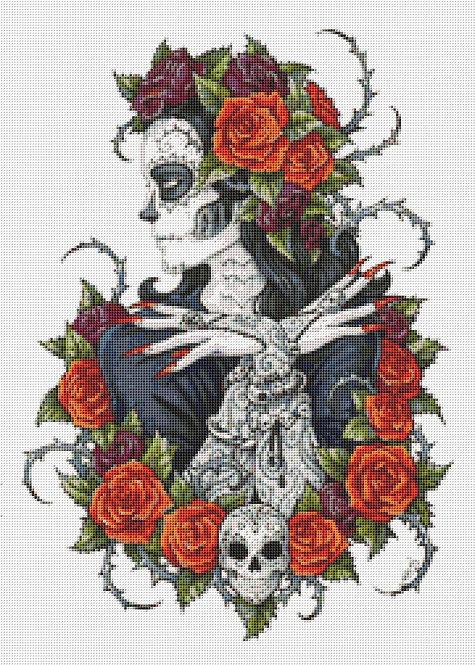 Calevera Cross Stitch - Rose - Skull - Gothic - Fantasy - Candra