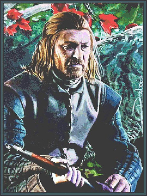Eddard Stark Cross Stitch Chart - Kit  - Game of Thrones - Desbois