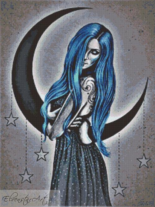 Blue Moon Cross Stitch Chart -  Kit - Goth - Fantasy - Sinz