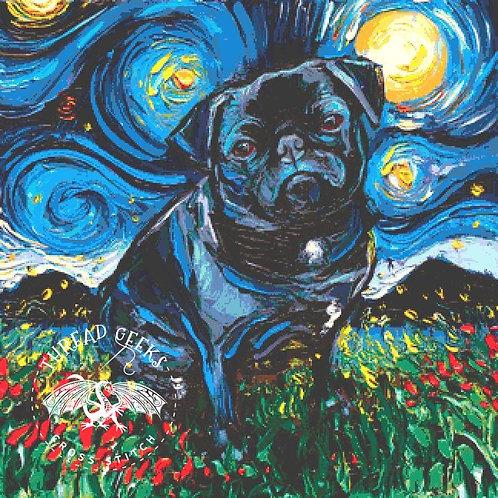 Black Pug Cross Stitch Chart - Kit - Dog
