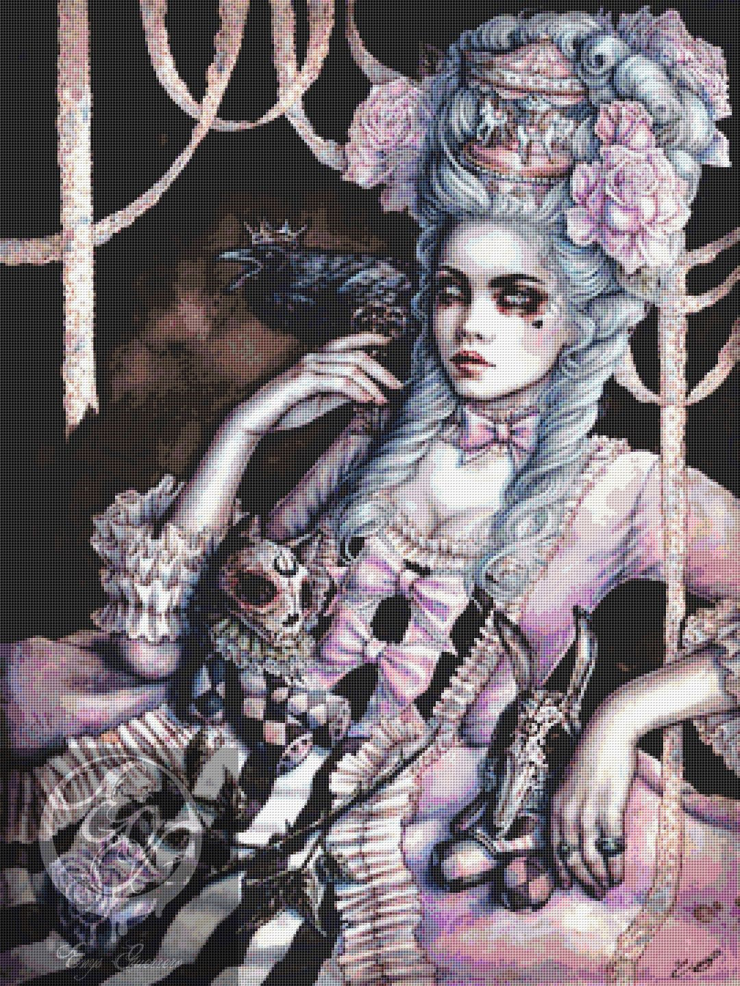 DMC Fantasy Rococo Dream Counted Cross Stitch Kit Raven Goth UK
