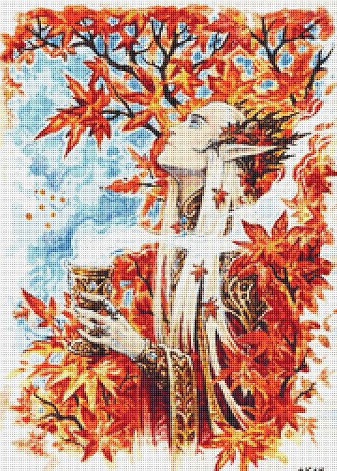 Autumn In Mirkwood Cross Stitch - The Hobbit - Elf - LOTR - Fantasy - Candra
