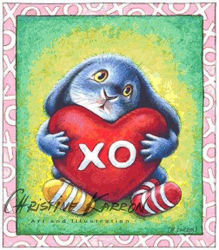 Valentine Benny Blue Cross Stitch  Chart - Kit - Rabbit