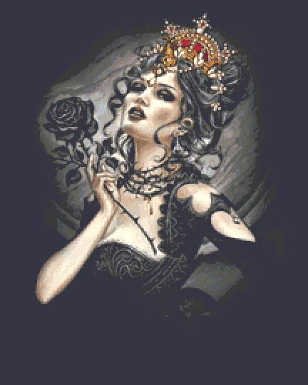 Black Rose Queen Cross Stitch PDF Chart - Alchemy Gothic