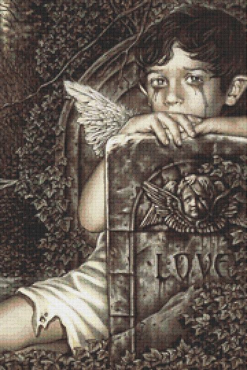 Cherub Boy Cross Stitch Chart - Kit  - Angel - Goth - Fantasy