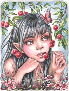 Cherry Fairy Cross Stitch Chart - Kit