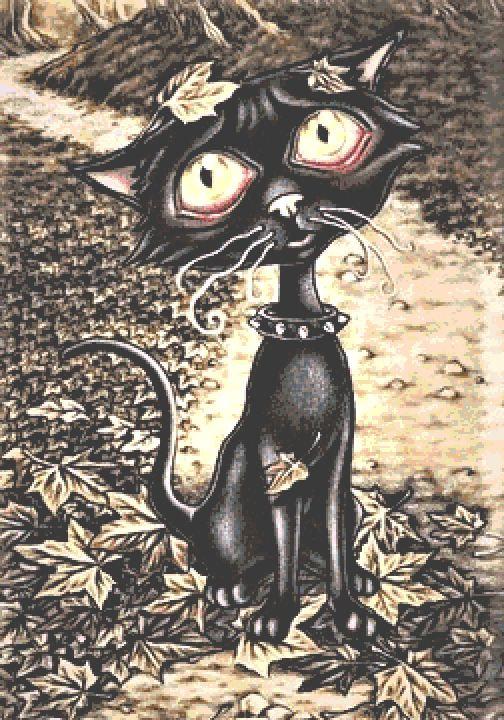 Black Cat Cross Stitch Chart - Kit  - Goth - Fantasy