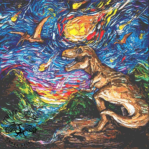 Cretaceous Night Cross Stitch Chart - Kit - Dinosaurs - T-Rex