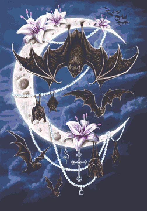 Bats Moon Cross Stitch Chart - Kit - Fantasy - Goth