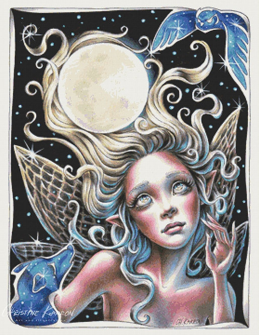 Full Moon Fairy Cross Stitch Chart - Kit