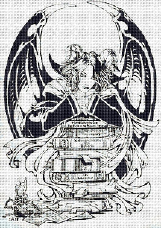 Bibliophile Cross Stitch - Gothic - Fantasy  - Magic - Demon - Candra