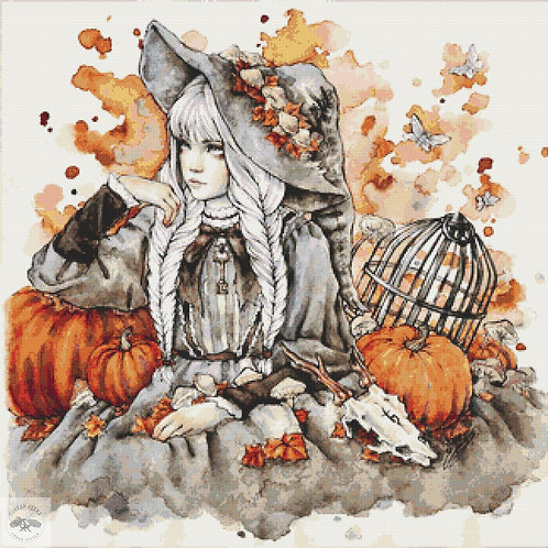 Gray Witch Cross Stitch Chart - Kit  - Goth - Enys Guerrero