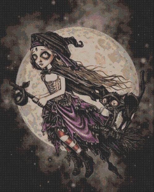 Broom Cross Stitch Chart - Kit  - Witch - Cat - Goth - Fantasy