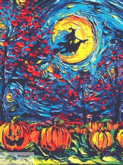 Starry Halloween Large Cross Stitch Chart PDF