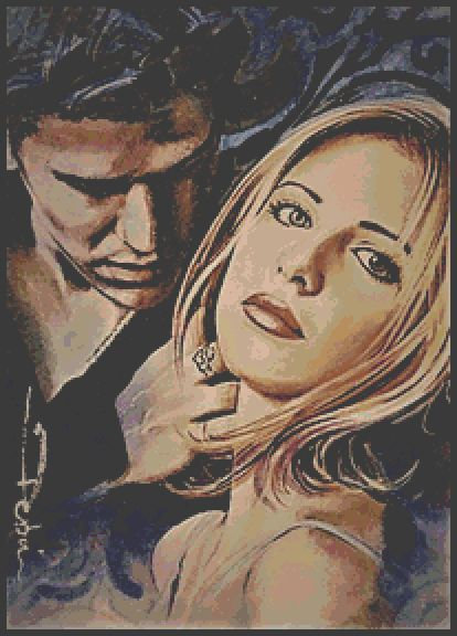 Buffy and Angel Cross Stitch Chart PDF