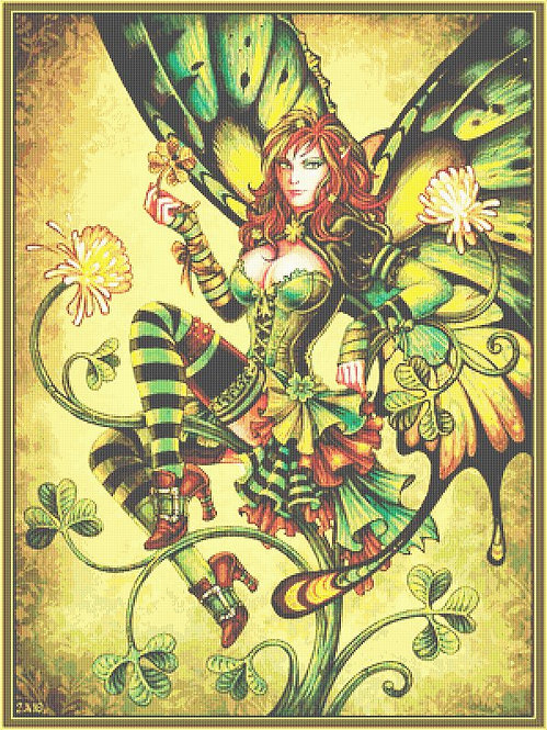 Clover Fairy Cross Stitch - Gothic - Fantasy  - Magic - Candra