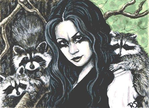 Large Mischief Cross Stitch Kit  - Raccoon  - Goth - Fantasy