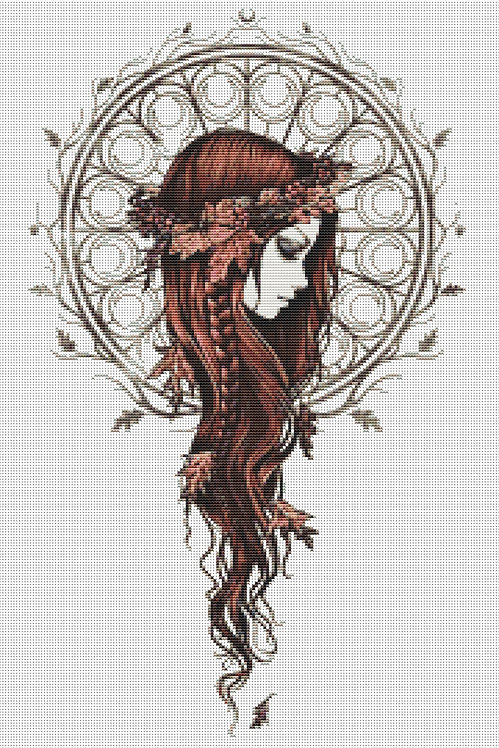 Autumn Lady Cross Stitch Chart - Kit  - Goth - Fantasy