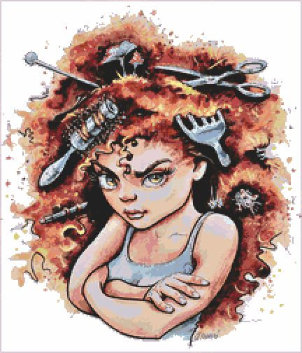 Bad Hair Day Cross Stitch Chart PDF