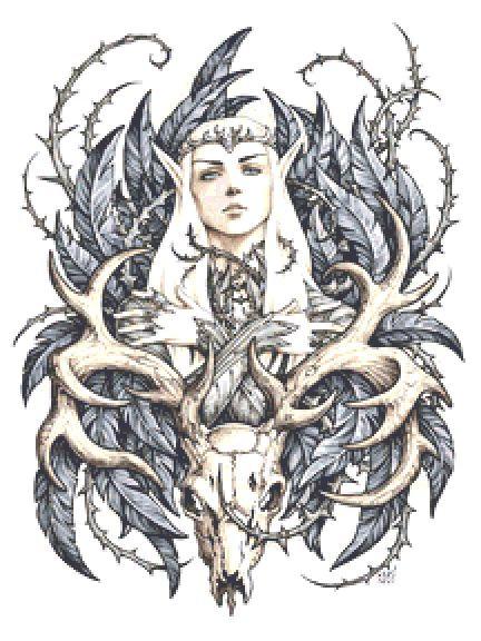 Thranduil Cross Stitch - The Hobbit - Elf - Skull - Candra