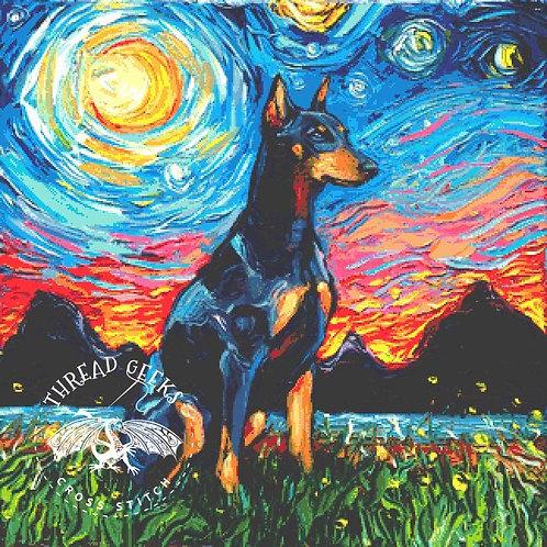 Doberman Cross Stitch Chart - Kit - Dog