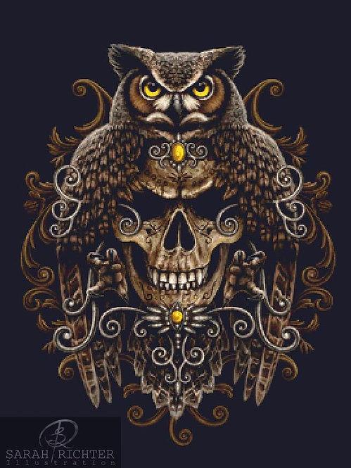 Death Wisdom Cross Stitch - Chart - Kit - Fantasy - Owl - Skull