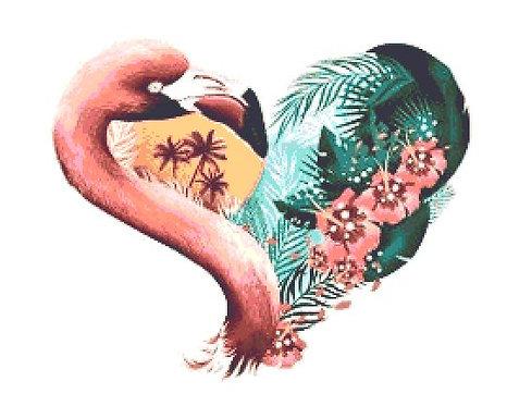 Flamingo Heart Cross Stitch Kit - Chart