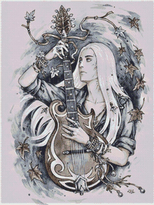 Thranduil and his Guitar Cross Stitch - The Hobbit - Elf - Candra