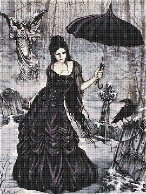 Gothic Lady in Black Cross Stitch Chart PDF