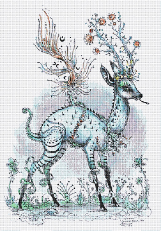 Chimera Deerling Cross Stitch  Chart - Kit -  Polly Fae
