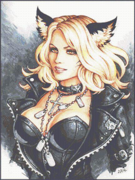 Bad Kitty Cross Stitch  - Gothic - Fantasy - Candra