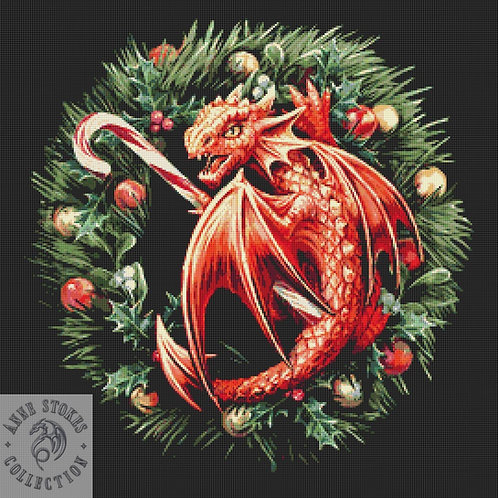 Sweet Tooth Dragon Cross Stitch  Kit - Anne Stokes - Christmas