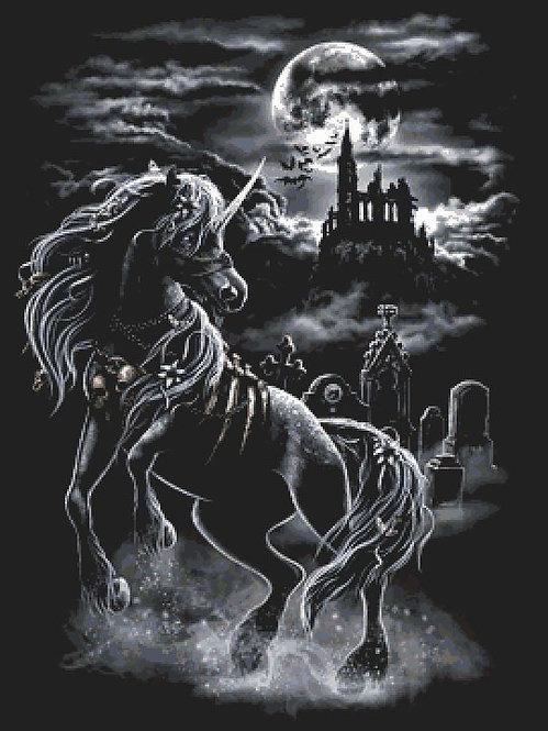 Dark Unicorn Castle Large Cross Stitch Chart PDF