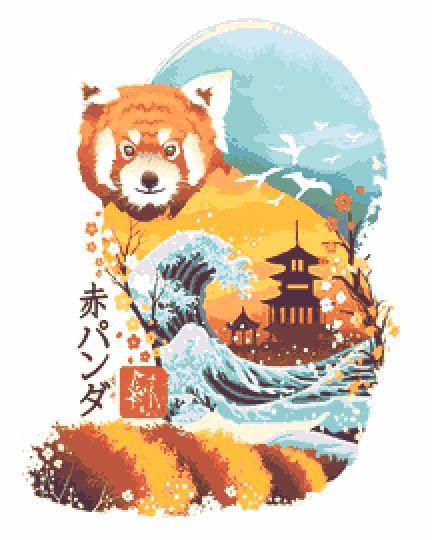 Red Panda Cross Stitch Chart PDF