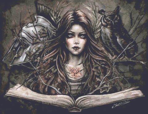 Goddess Minerva Cross Stitch Chart - Kit  - Goth - Enys Guerrero