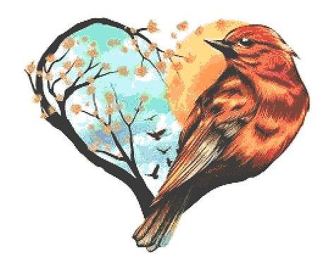 Bird Heart Cross Stitch Kit - Chart