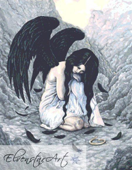 Broken Halo Angel Cross Stitch Chart PDF - Rebecca Sinz