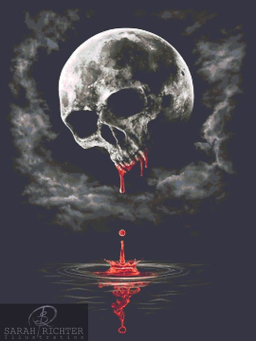 Blood Moon Cross Stitch - Chart - Kit - Fantasy - Skull