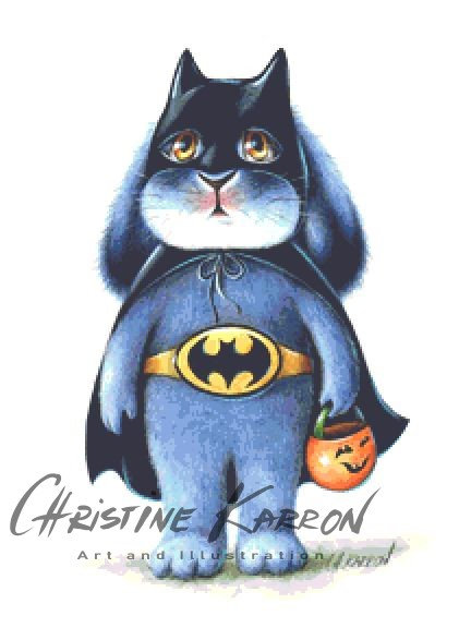 Bat Bunny Cross Stitch  Chart - Kit - Rabbit - Benny Blue - Halloween - Batman